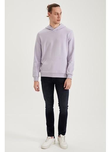 DeFacto Kapüşonlu Slim Fit Basic Sweatshirt Mor